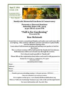 Greenhouse Gardening seminar 9-27-14